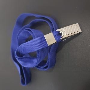 Cordão Liso com clips modelo jacaré para crachá - AZUL ROYAL