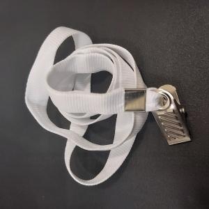 Cordão Liso com clips modelo jacaré para crachá - BRANCO